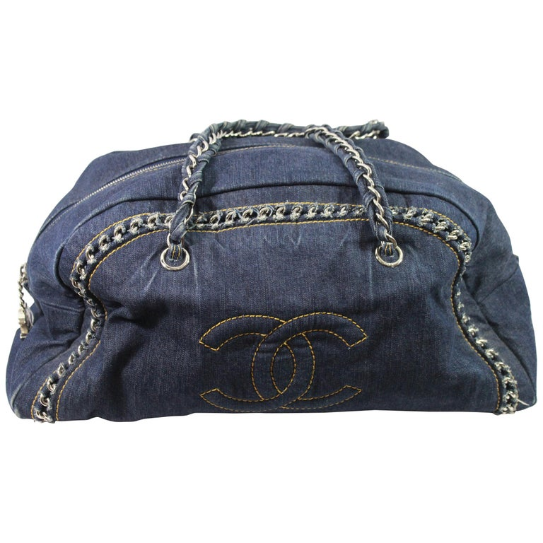 2cef57f9c287 Chanel Bowling Jean Denim Bag with Chains at 1stdibs