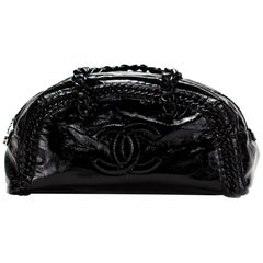 Chanel Bowling XL Satchel Resin Handle Duffel Tote Black Patent Leather Weekend