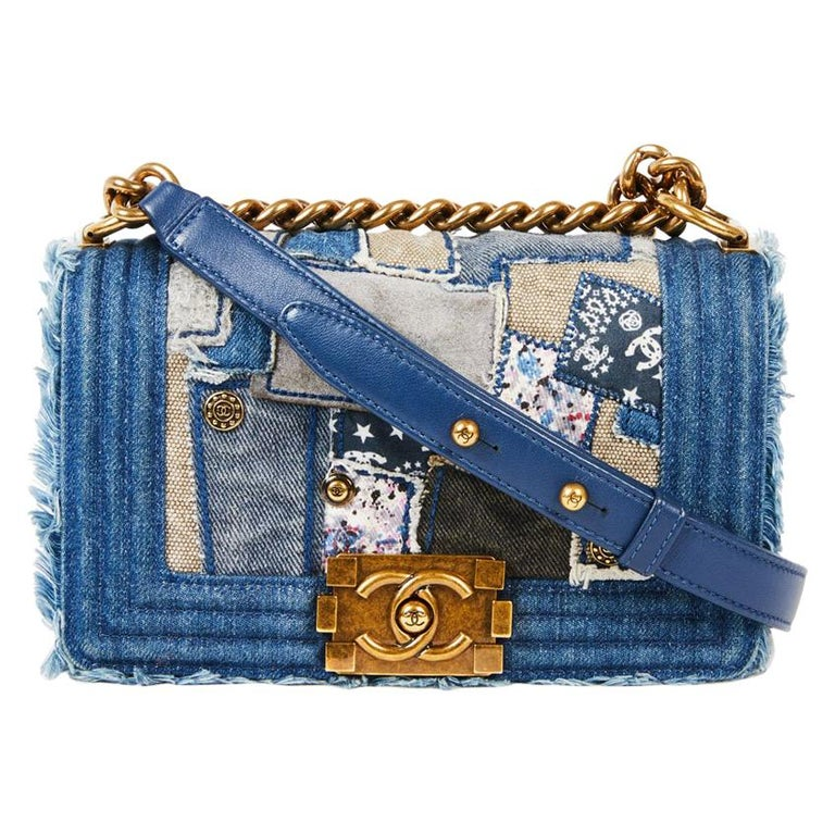 066249040cc5 CHANEL Boy Bag in Blue Denim Patchwork at 1stdibs