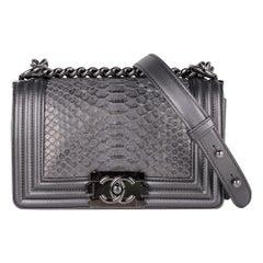 Chanel Boy Bag Silver Python / Leather Ruthenium Hardware Medium New w/Box