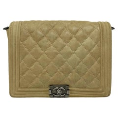 Chanel Boy Beige Bag in Suede with Silver Hardware