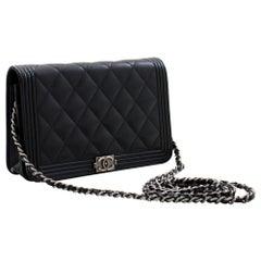 CHANEL Boy Black Caviar Flap WOC Wallet On Chain Shoulder Bag