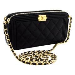 CHANEL Boy Black Caviar WOC Wallet On Chain W Zip Shoulder Bag Leather