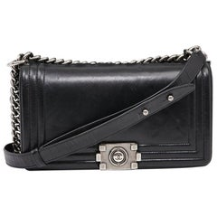 CHANEL Boy Black Leather Bag
