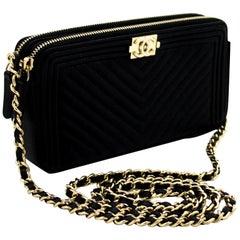 CHANEL Boy Black V-Stitch Caviar WOC Wallet On Chain Doube Zip Leather