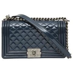 Chanel boy blue navy patent leather shoulder bag