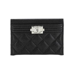 Chanel Boy Card Holder Quilted Caviar