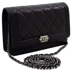 CHANEL Boy Caviar Black WOC Wallet On Chain Shoulder Bag Quilted Leather