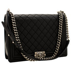 CHANEL Boy Chain Shoulder Bag Black Flap Quilted Leather Crossbody