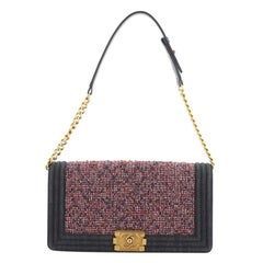 Chanel Boy Clutch Shoulder Bag Tweed Medium