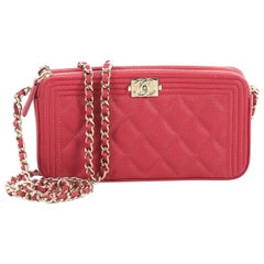Chanel Boy Double Zip Clutch with Chain Quilted Caviar