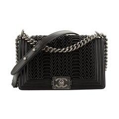 Chanel Boy Flap Bag 3D Pleated Leather Old Medium