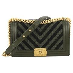 Chanel Boy Flap Bag Braided Chevron Cording and Calfskin Old Medium