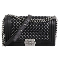 Chanel Boy Flap Bag Braided Patent and Calfskin Old Medium