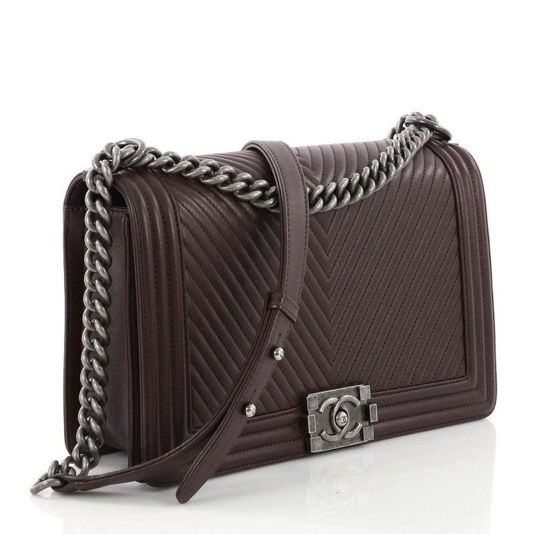 0c74db32eaca Chanel Boy Flap Bag Chevron Calfskin New Medium For Sale at 1stdibs