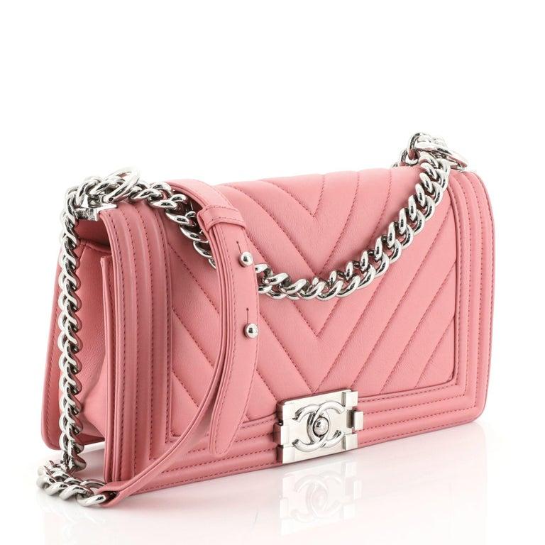 Pink Chanel Boy Flap Bag Chevron Calfskin Old Medium For Sale
