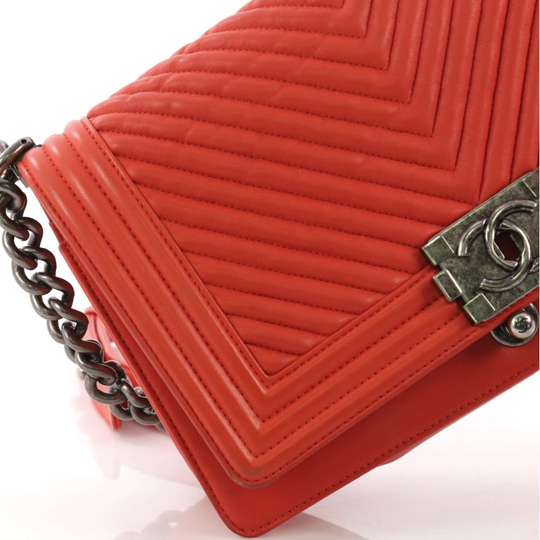 6cd7d3553bb4 Chanel Boy Flap Bag Chevron Calfskin Old Medium For Sale 3
