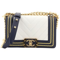 Chanel Boy Flap Bag Chevron Calfskin with Braided Detail Small