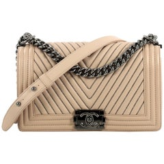 Chanel Boy Flap Bag Chevron Calfskin with Micro Chain Detail Old Medium