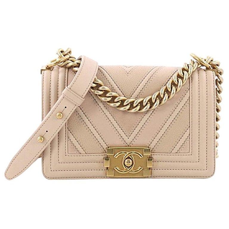 9ac5b26756ffb3 Chanel Boy Flap Bag Chevron Caviar and Calfskin Small For Sale at ...