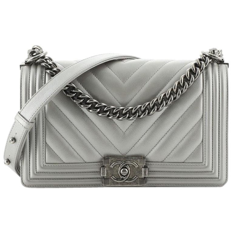 Chanel Boy Flap Bag Chevron Caviar Old Medium
