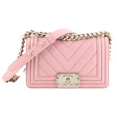 Chanel Boy Flap Bag Chevron Caviar Small