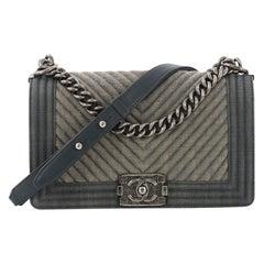 Chanel Boy Flap Bag Chevron Denim Old Medium