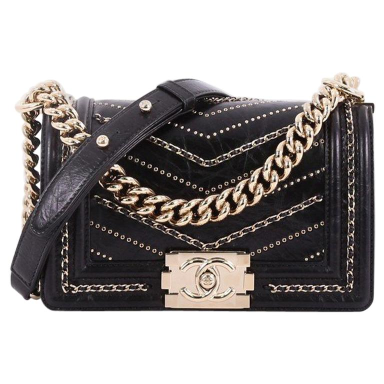 3ec57a73e7bf79 Chanel Boy Flap Bag Chevron Embellished Crumpled Calfskin Small For Sale