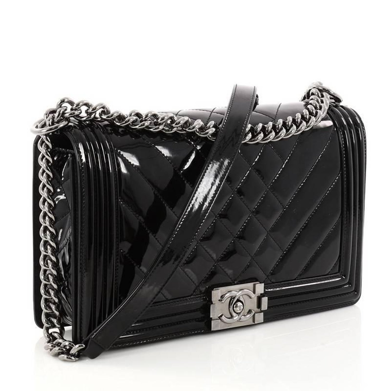 7724fa823ee9 Chanel Boy Flap Bag Chevron Patent New Medium at 1stdibs