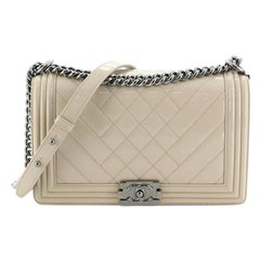 Chanel Boy Flap Bag Chevron Patent New Medium