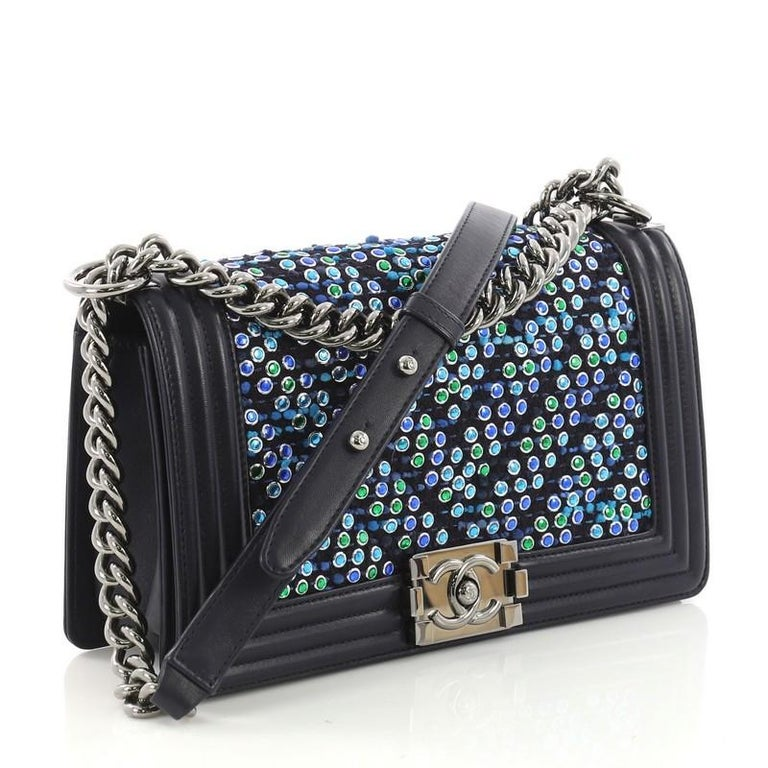 86f6b603d328 Black Chanel Boy Flap Bag Chevron Tweed and Rhinestones Old Medium For Sale