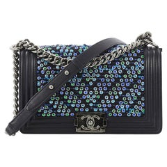 Chanel Boy Flap Bag Chevron Tweed and Rhinestones Old Medium