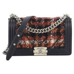 Chanel Boy Flap Bag Chevron Tweed Old Medium