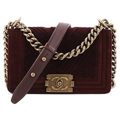 Chanel Boy Flap Bag Chevron Velvet Small