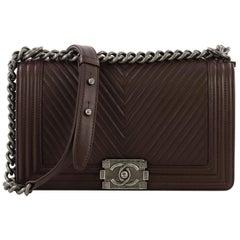 Chanel Boy Flap Bag Chevron Wrinkled Lambskin Old Medium