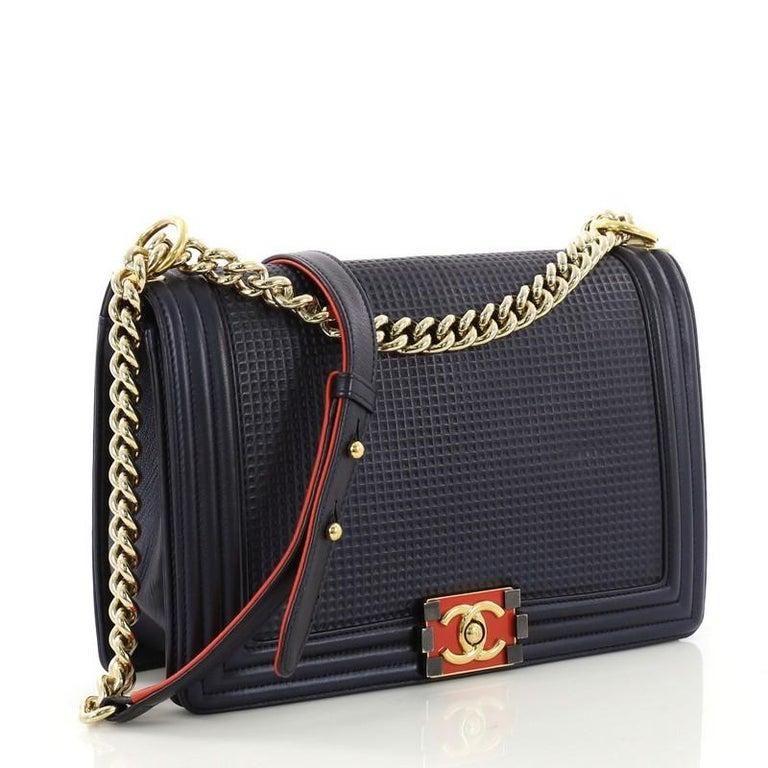 57738cd279d3f8 Black Chanel Boy Flap Bag Cube Embossed Lambskin New Medium For Sale