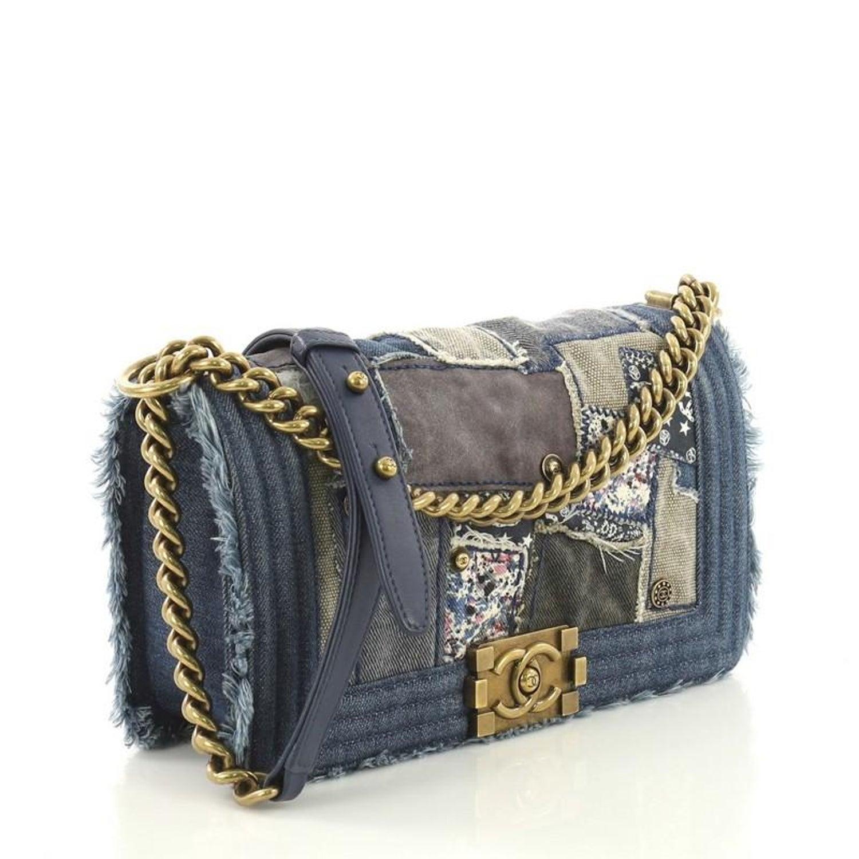 69c9550ddc435b Chanel Boy Flap Bag Denim Patchwork Old Medium at 1stdibs