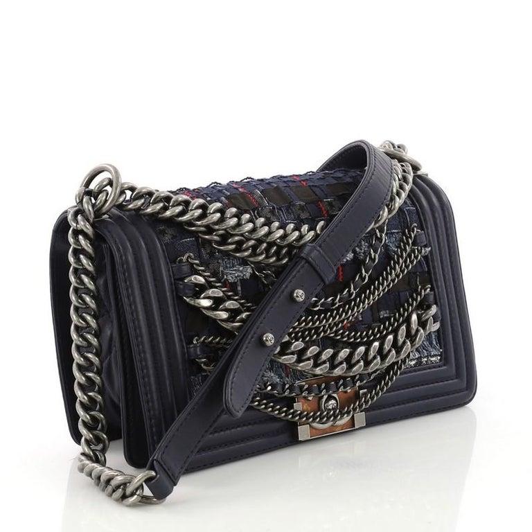 b3d6dcfae4e6 Black Chanel Boy Flap Bag Enchained Tweed Old Medium For Sale