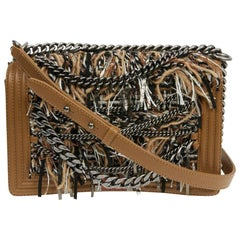 CHANEL Boy Flap Bag in Brown Tweed, Fringes and Chains