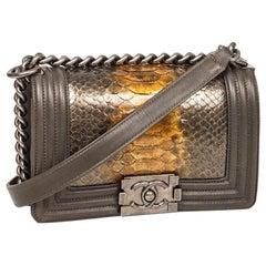 Chanel 'Boy' Flap Bag Kaki Leather and Green Python