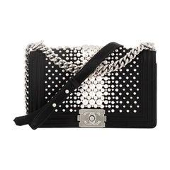 Chanel Boy Flap Bag Pearl Embellished Satin Old Medium