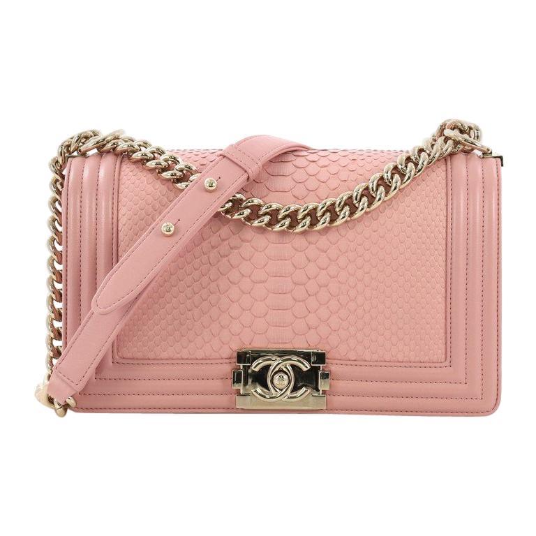 4657de3e80f9a2 Chanel Boy Flap Bag Python Old Medium For Sale at 1stdibs