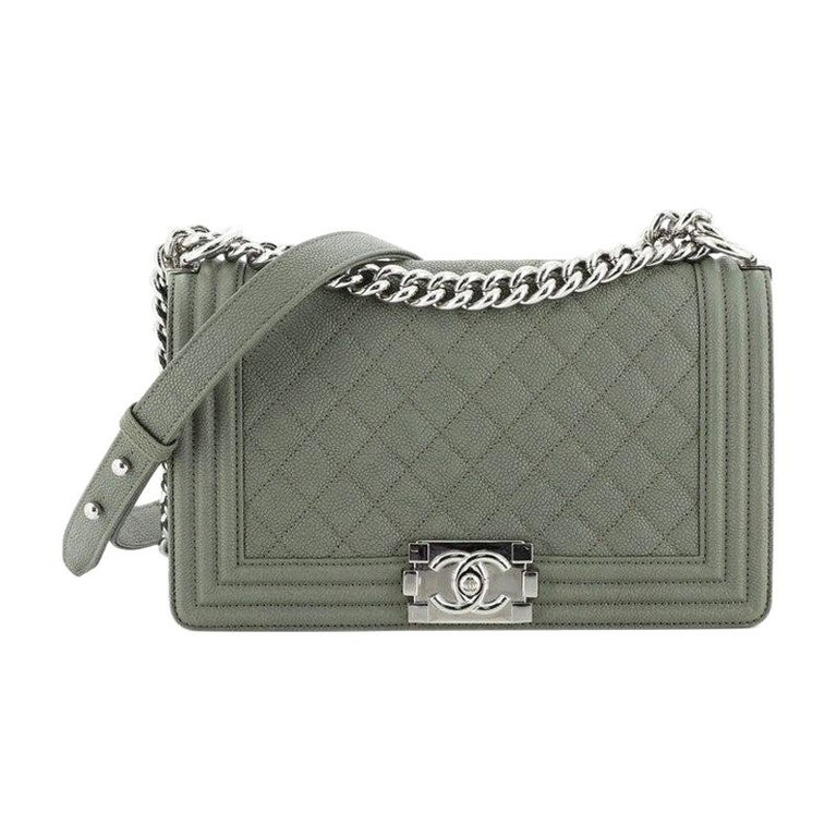 Chanel Boy Flap Bag Quilted Caviar Old Medium For Sale