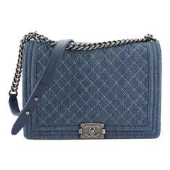 Chanel Boy Flap Bag Quilted Denim Large