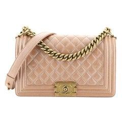Chanel Boy Flap Bag Quilted Goatskin Old Medium