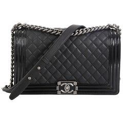 Chanel Boy Flap Bag Quilted Goatskin with Patent New Medium