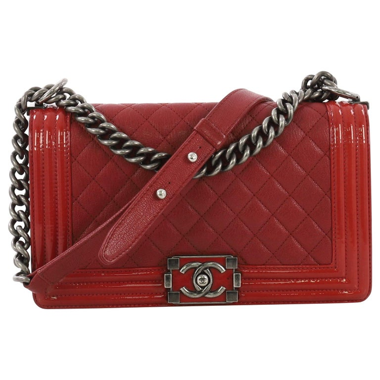 40f1e4952f8c Chanel Boy Flap Bag Quilted Goatskin with Patent Old Medium For Sale ...