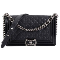 4fbcef6efddd Chanel Boy Flap Bag Quilted Goatskin with Patent Old Medium