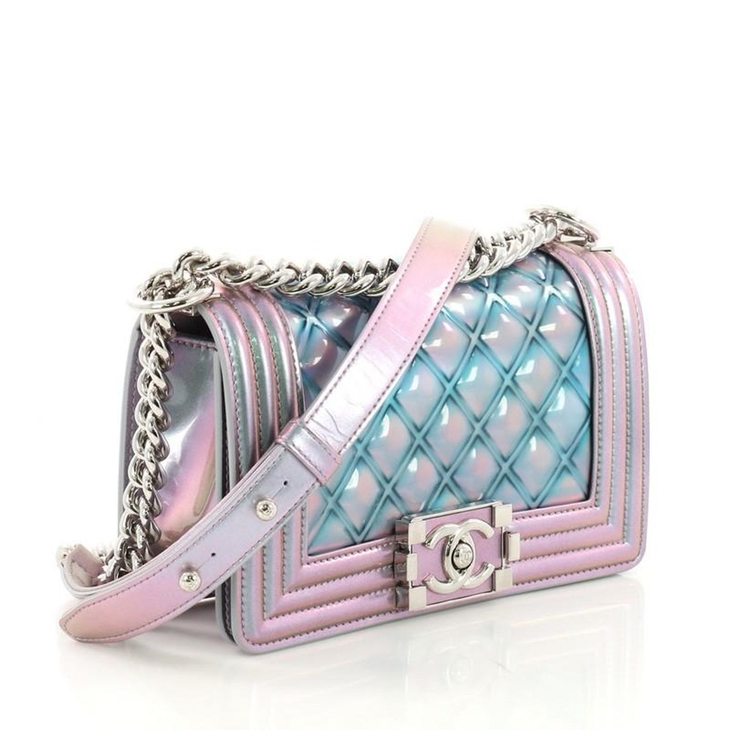 5acd496b9314 Chanel Boy Flap Bag Quilted Holographic PVC Small For Sale at 1stdibs