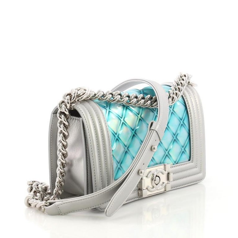 1573fdf033f25b Chanel Boy Flap Bag Quilted Holographic PVC Small For Sale at 1stdibs
